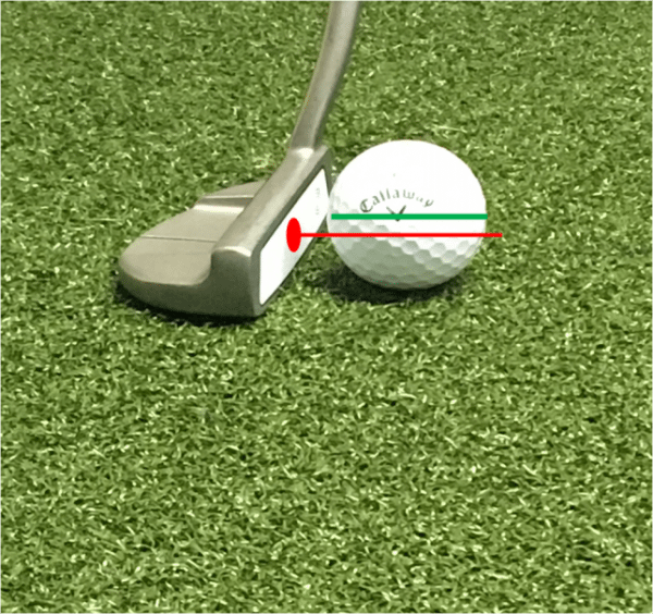 incorrect alignment of putter with golf ball