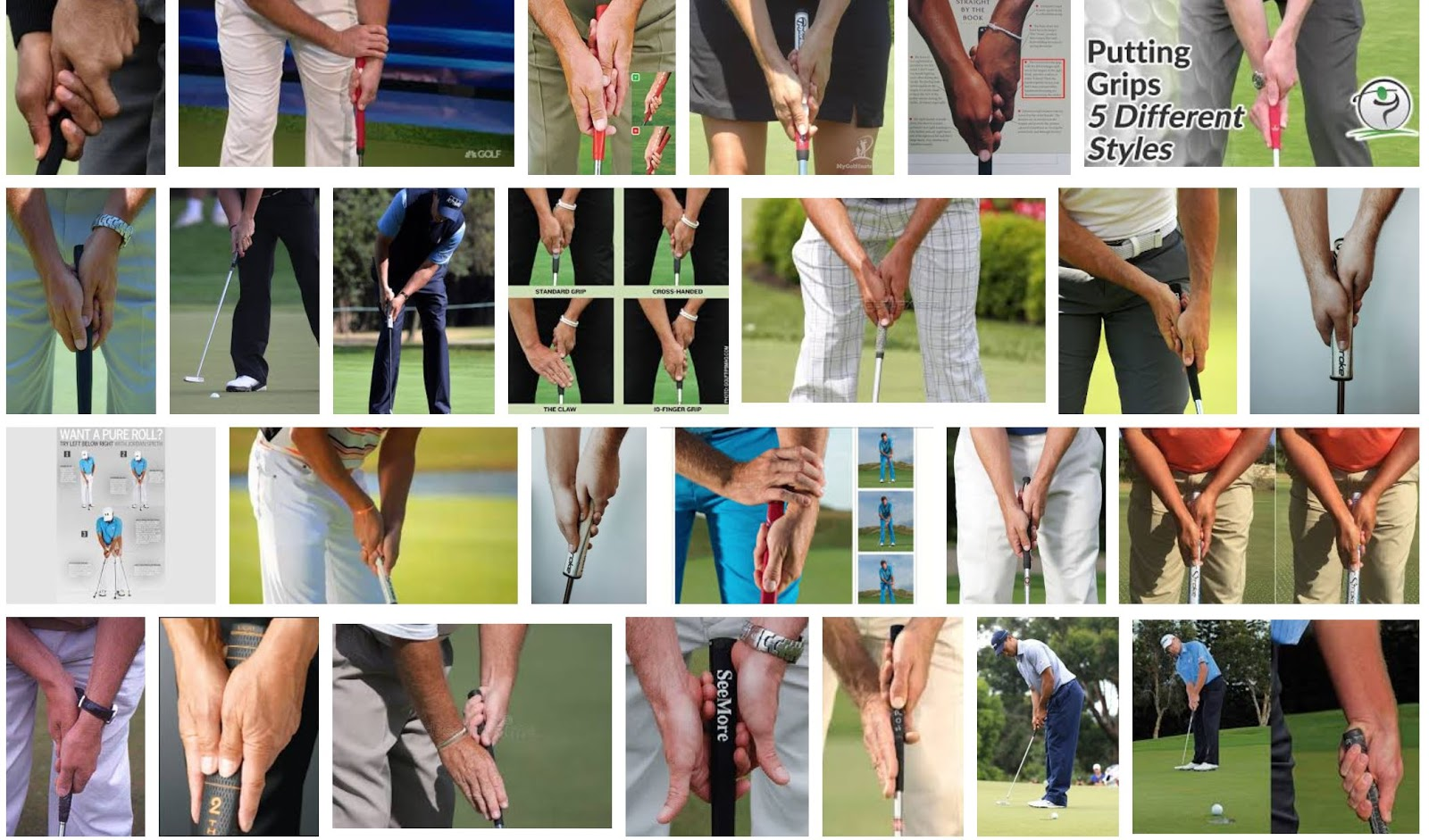 collage of different putting grips