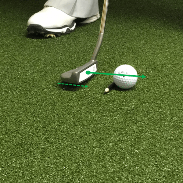 proper alignment of putter with golf ball