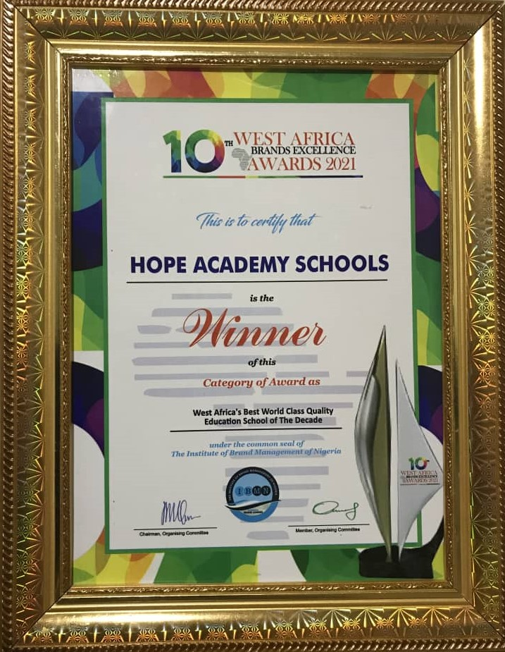 Hope Academy Schools - West Africa's 2021 SCHOOL OF THE DECADE