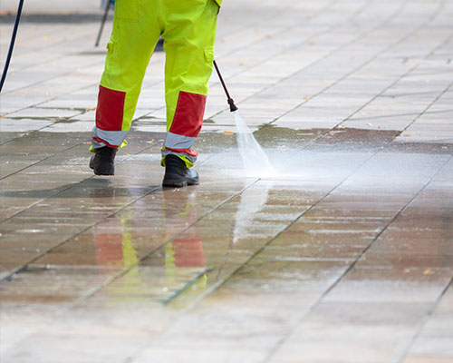 We power wash for commercial properties