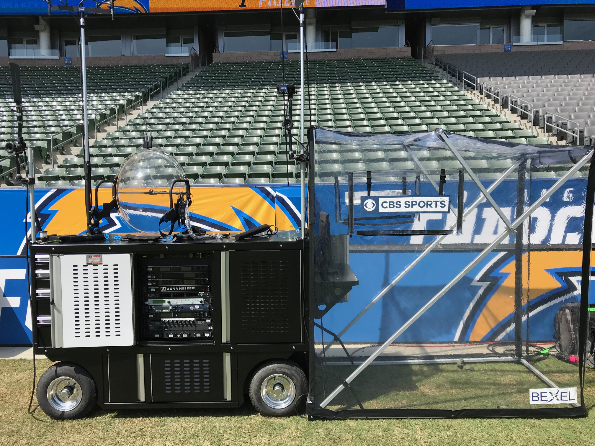 An example of the Sideline Audio/Video cart developed by NEP's team at Bexel for use on NFL broadcast productions.