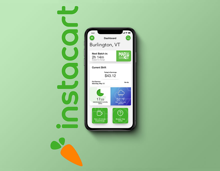 Mobile App UI Redesign for Instacart focusing on simplifiying the UX.