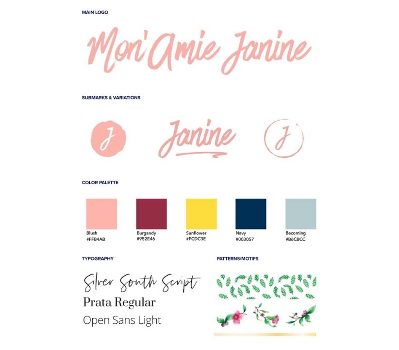 Branding Style Guidance for Monamie Janine