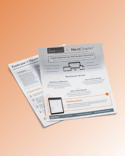 Acquisition collateral design for Fastcase + NextChapter
