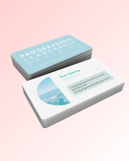 Business card design for Progression Leadership Coaching