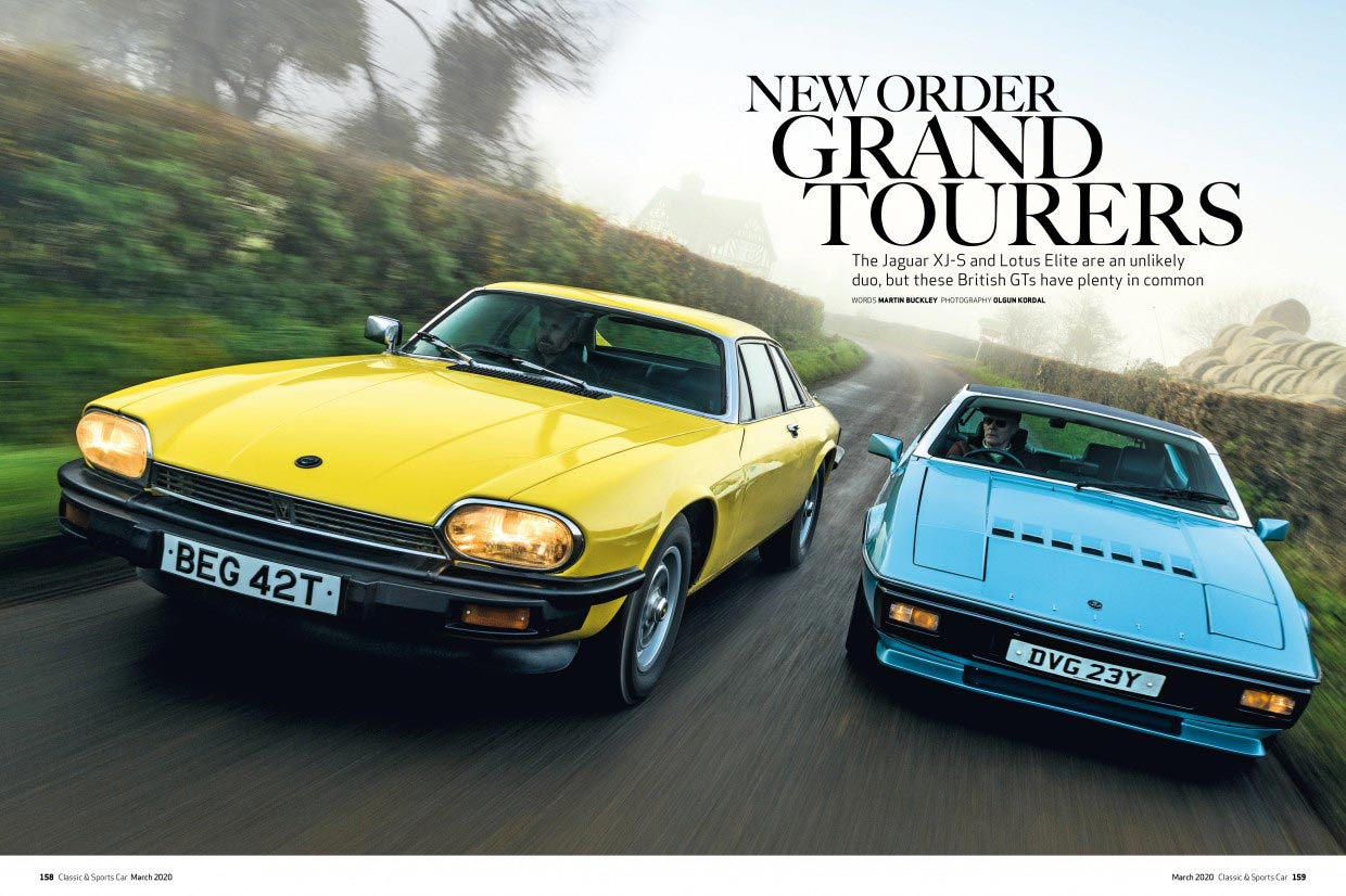 Picture of magazine cover with yellow and blue classic cars