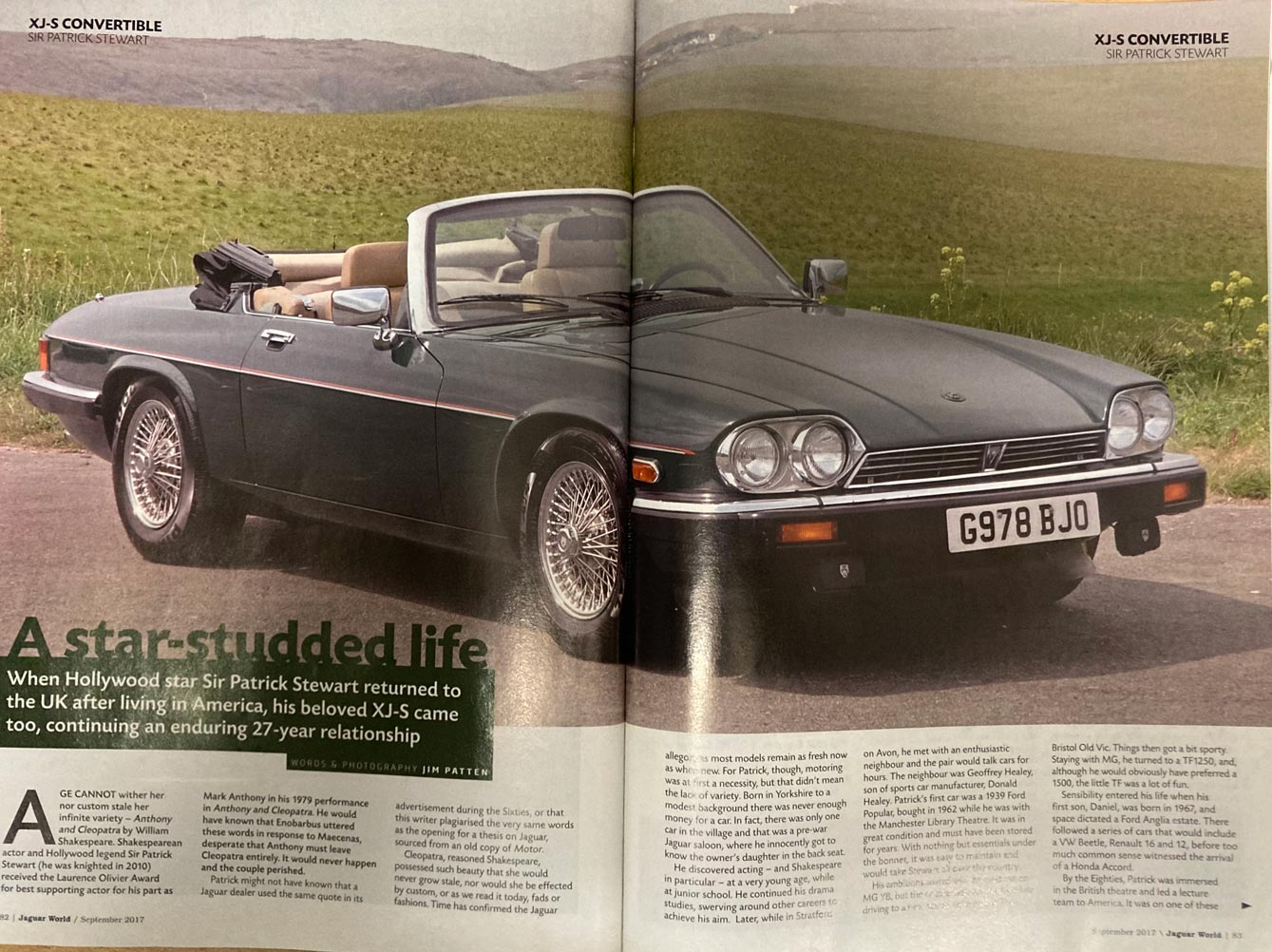 Picture of magazine showing Sir Patrick Stewart's car