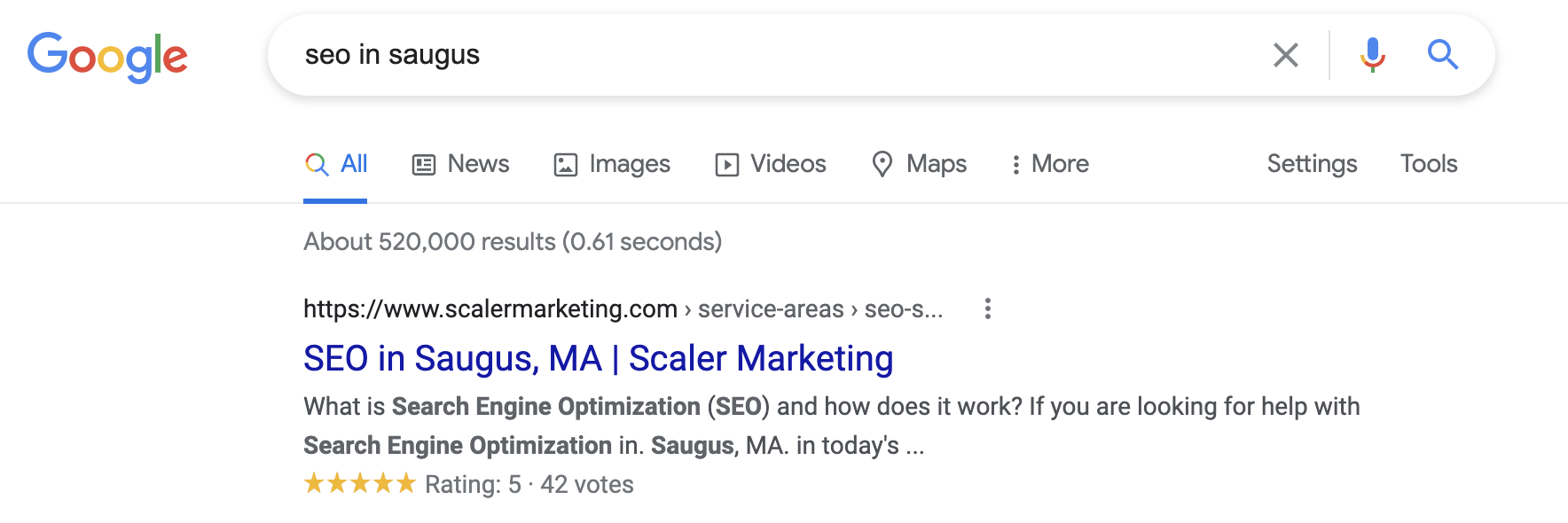 #1 Search Result for SEO in Saugus