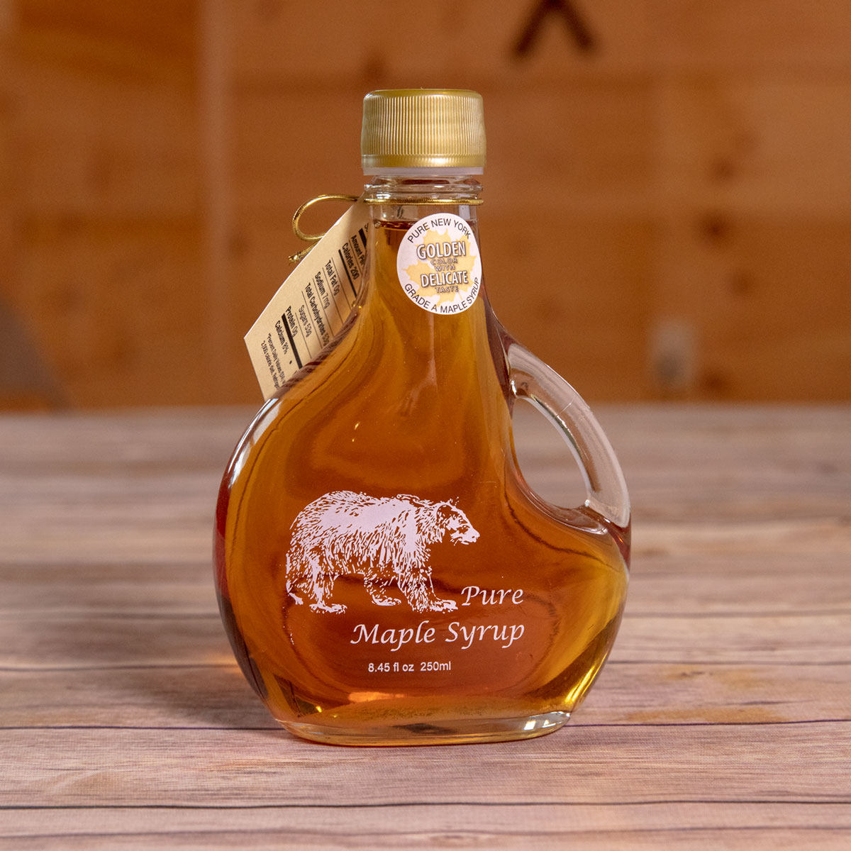 Bechard's PURE Maple Syrup Decorative Glass Jar 8.5 oz - Bear Basquaise