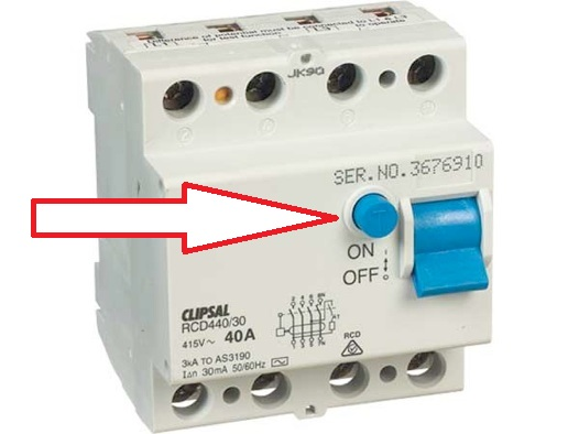 Safety switch showing test button