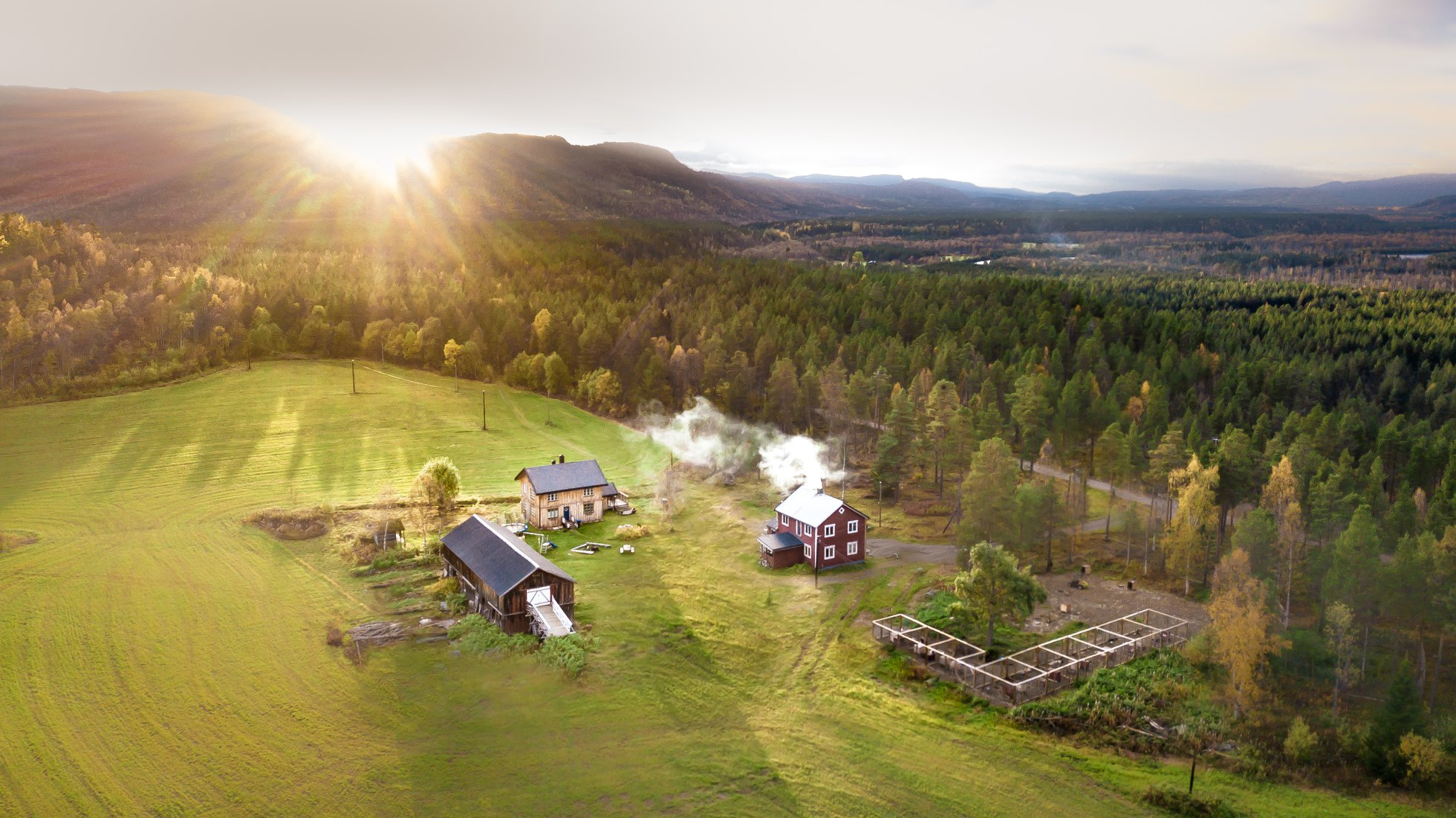 Aurora over the farm