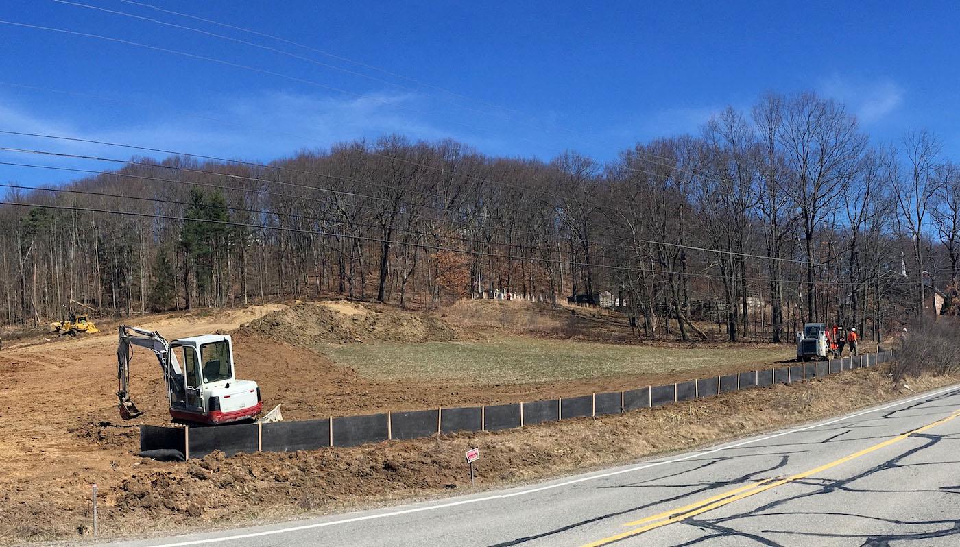 Siltron super silt fence alternative on roadway project