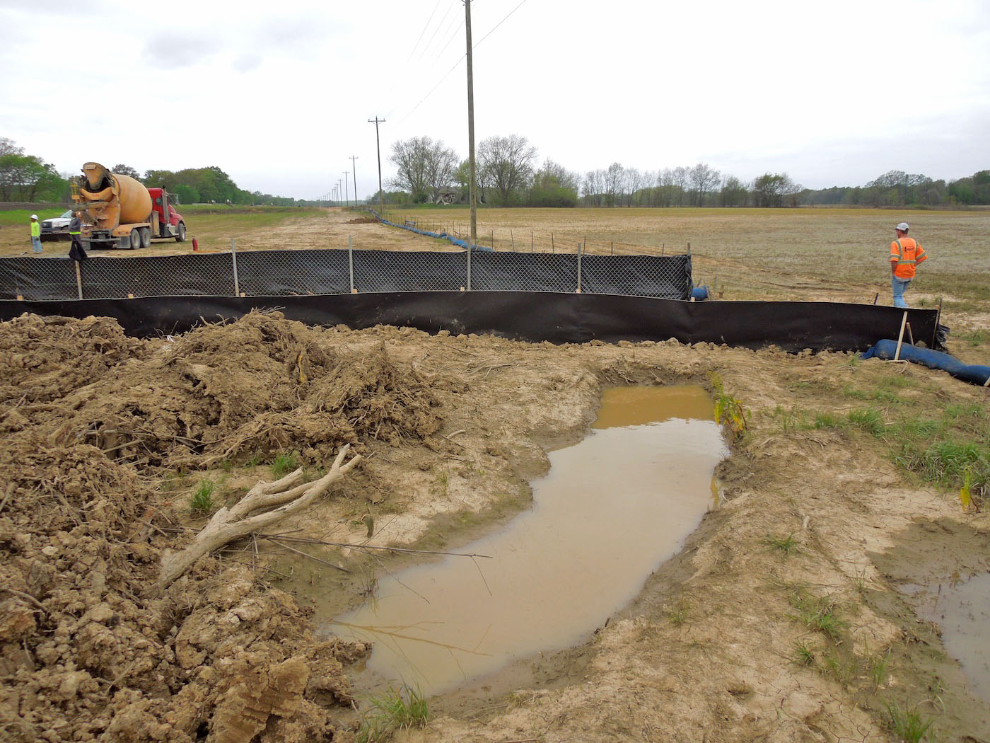 Siltron product being used for sediment control