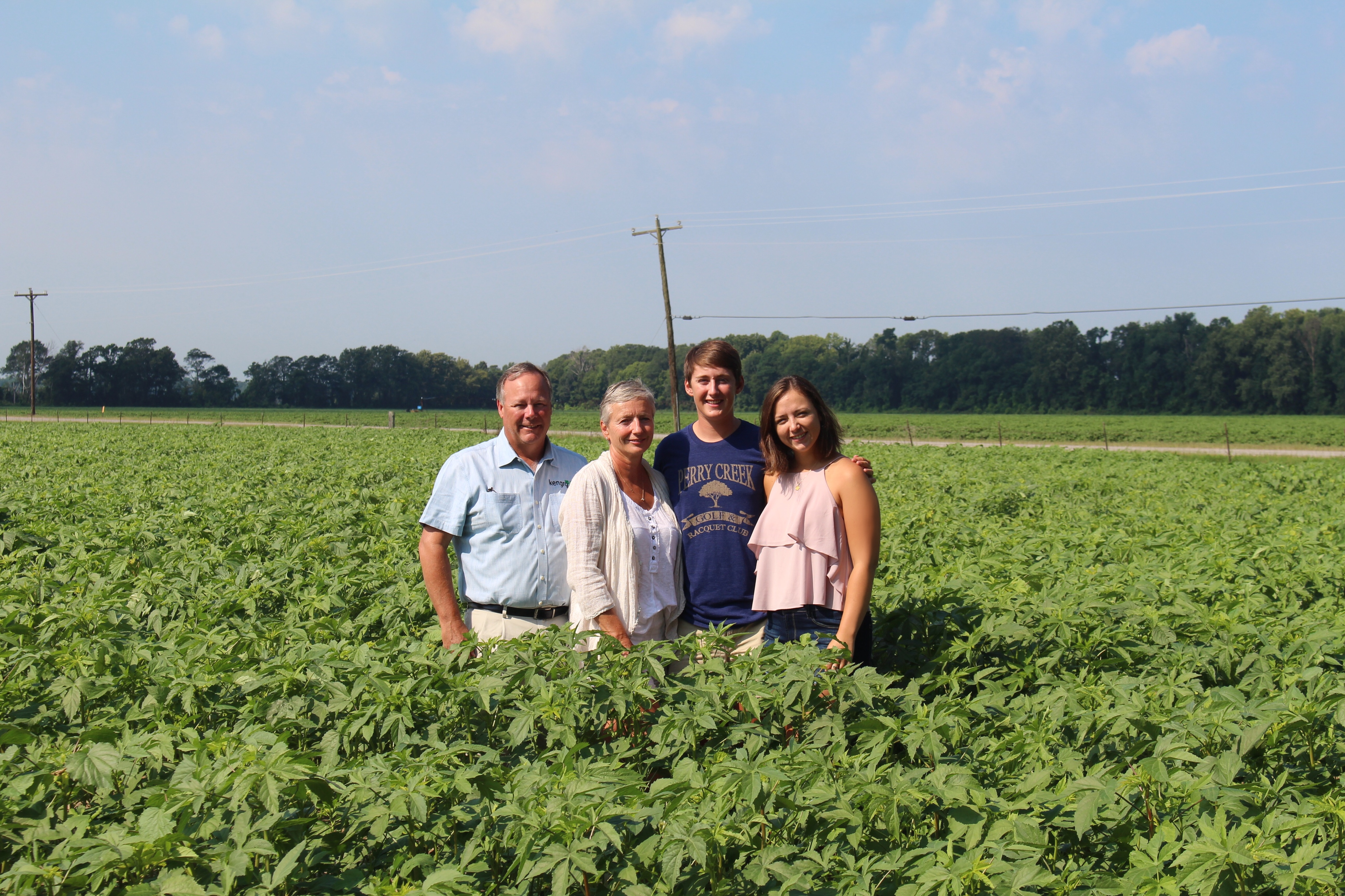 The Brasher family standing in a field of kenaf.