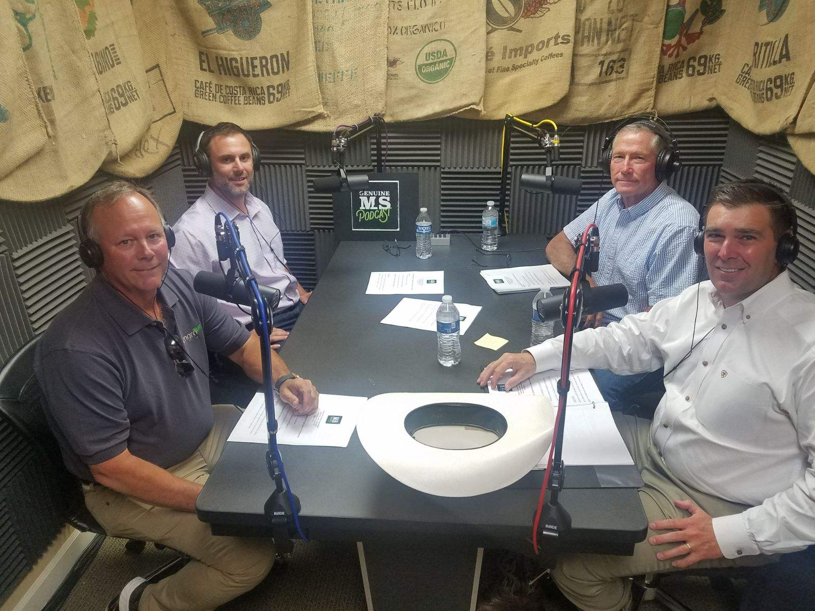 Brent Brasher, Andy Gipson, Matthew Summers, and Dennis Short recording Genuine MS Podcast Episode 8: Leaders in the Field