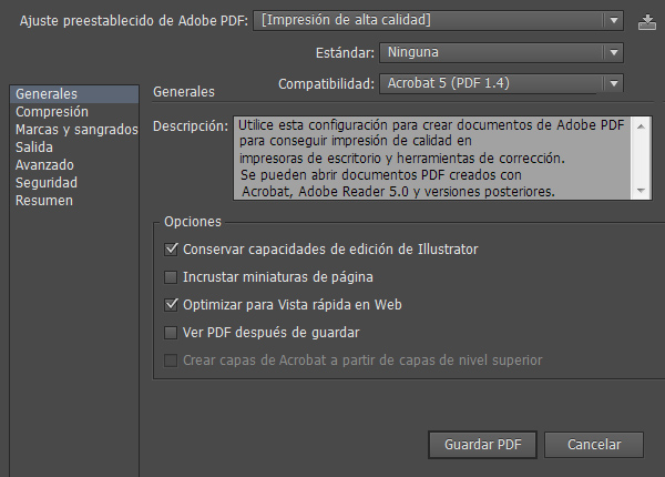 Guardar PDF desde Adobe Illustrator