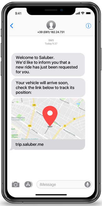 Saluber ride location screen
