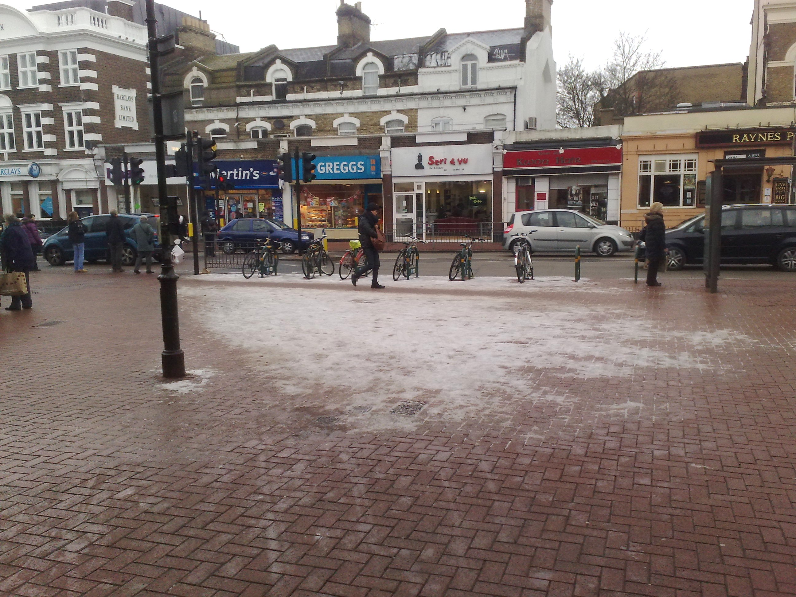 Outside Raynes Park Station - before