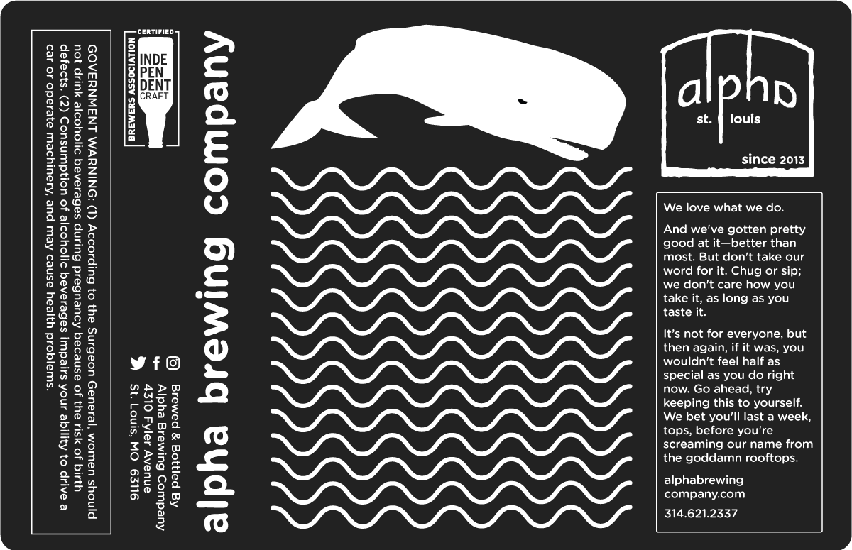 Studiopowell and Alpha Brewing Company St. Louis beer can label design