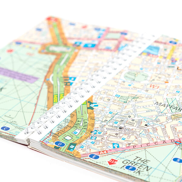 printed AZ map on a ring binder