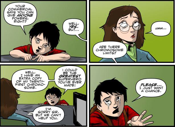 Metaphase comic book featuring a boy with Down Syndrome