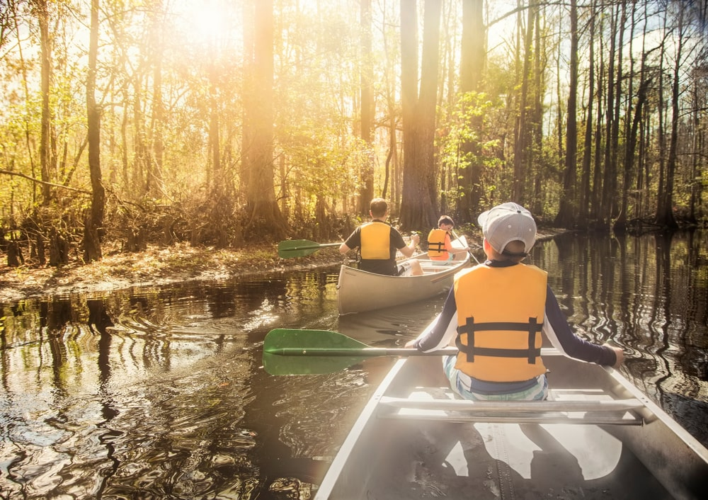 Family kayaking in Florida Swamplands for an accessible outdoor adventure