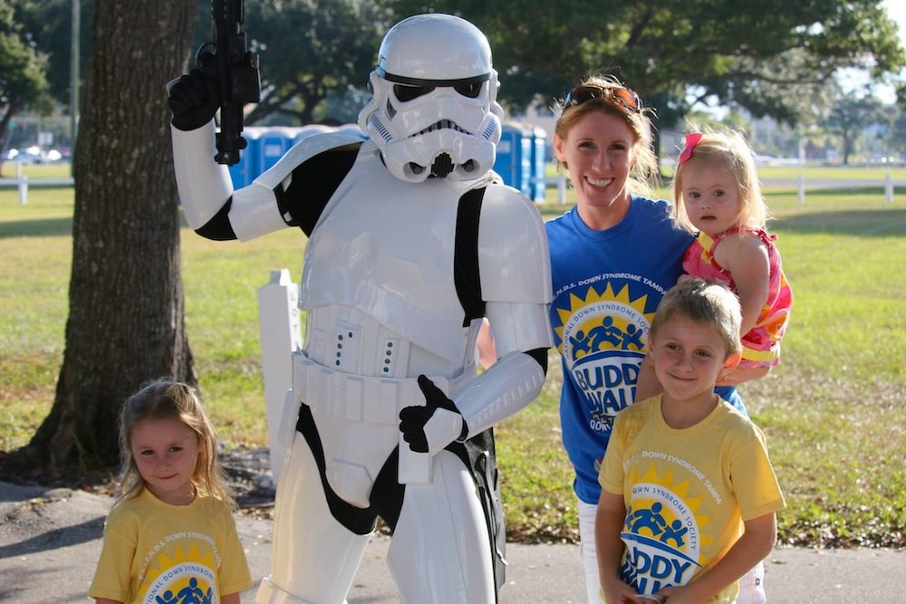 FRIENDS Down Syndrome Buddy Walk of Tampa family with a storm trooper
