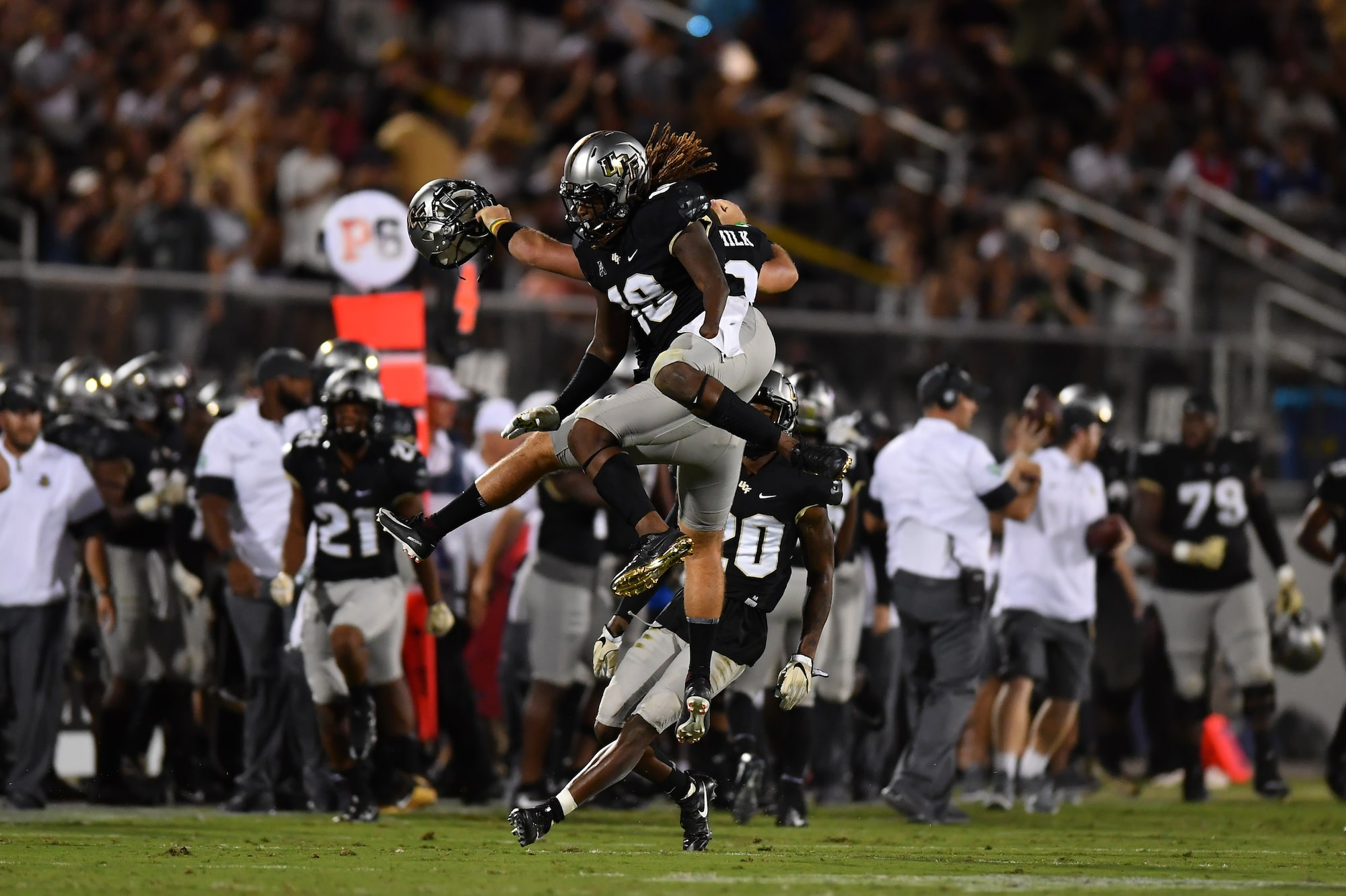 Shaquem Griffin jumping up after a victory at UCF