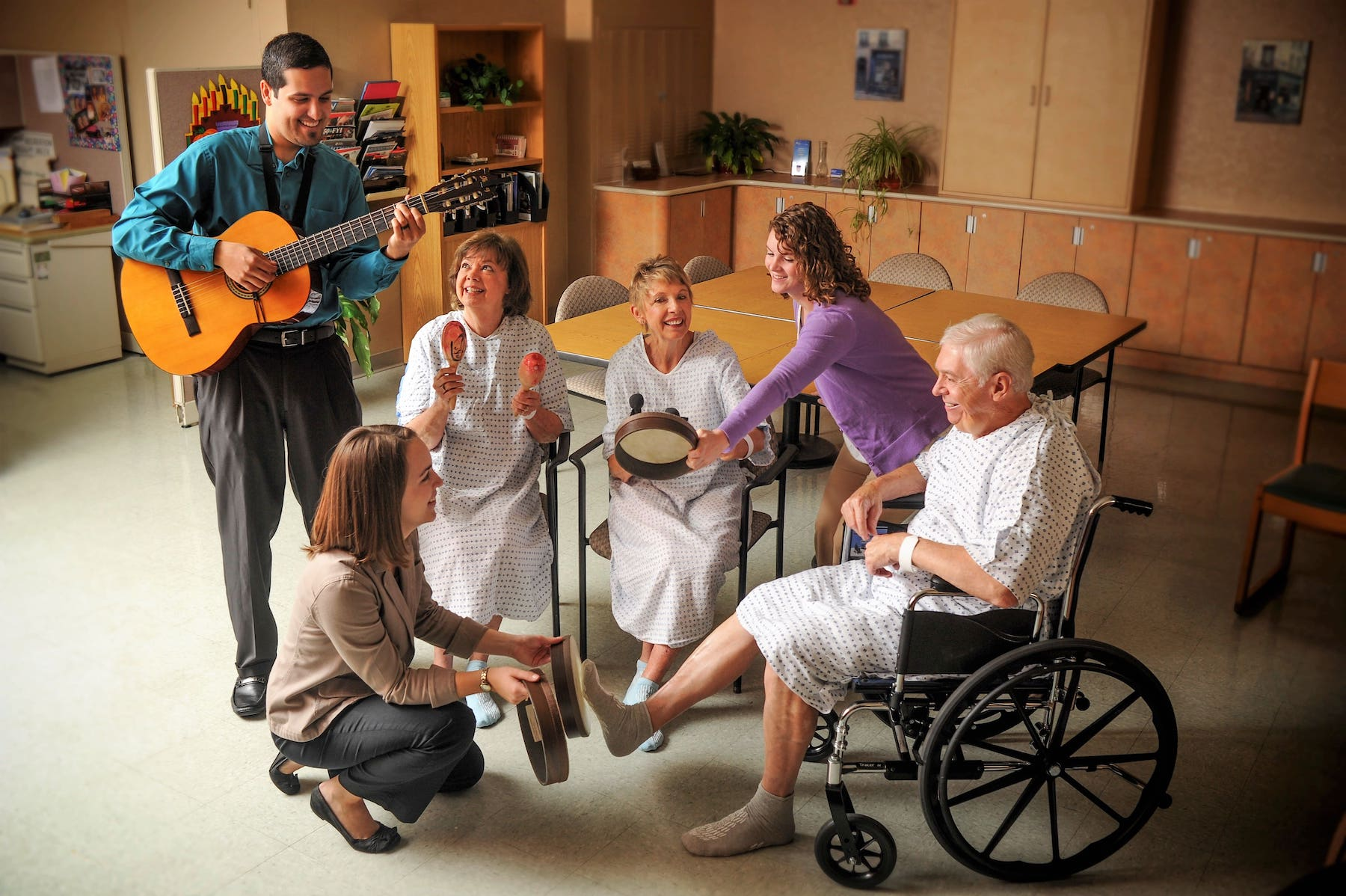 Patients at Florida Hospital enjoying music therapy healing