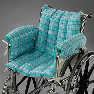 Wheelchair cushions add comfort.