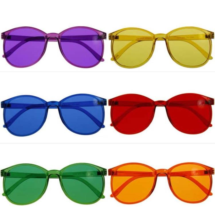 Color tinted glasses can be used for color therapy.