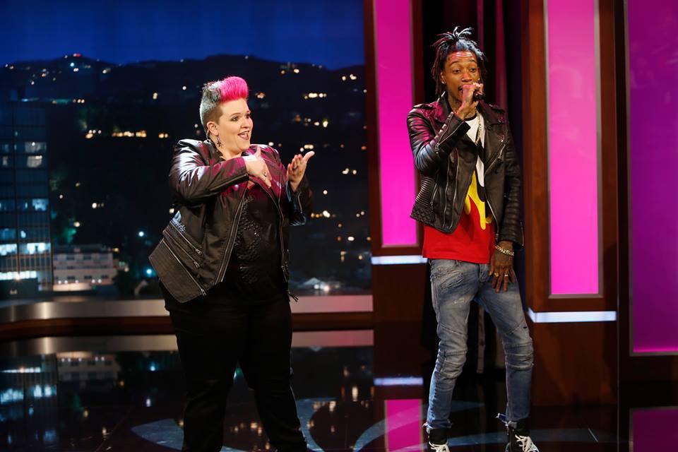 Amber promotes ASL music interpretation on Jimmy Kimmel Live