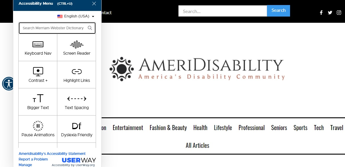 AmeriDisability's website includes accessible navigation.
