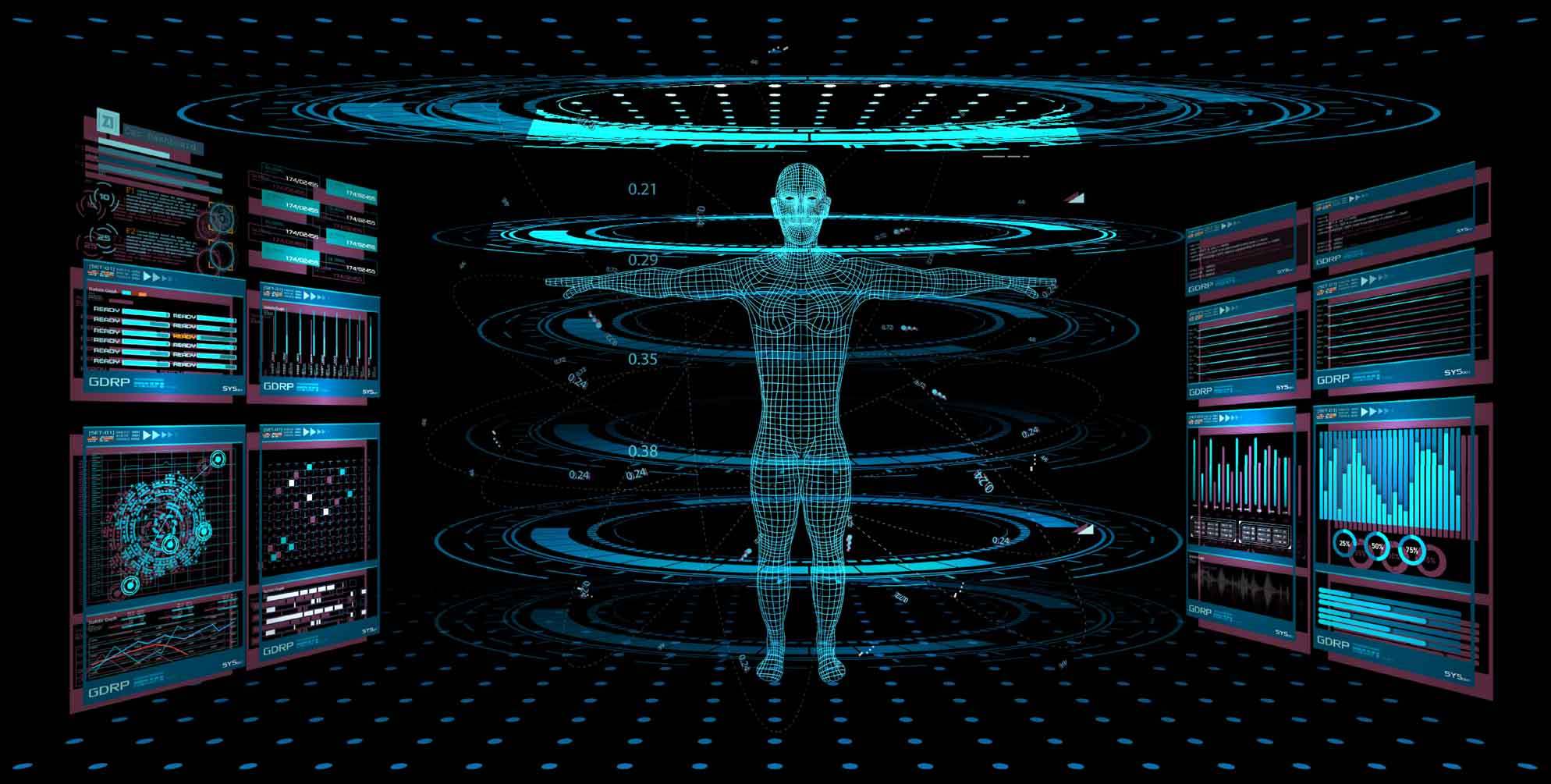 3D projection of mapped body in blue