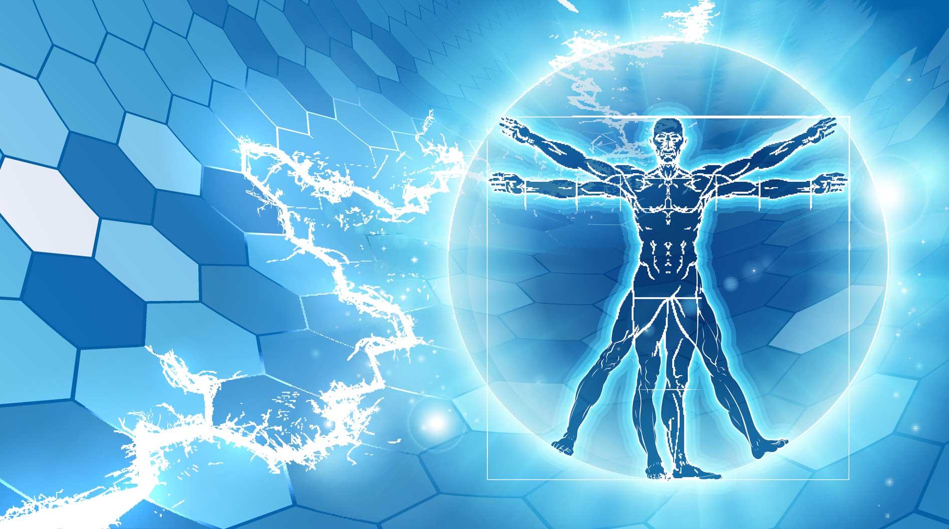Blue Da Vinci man illustration