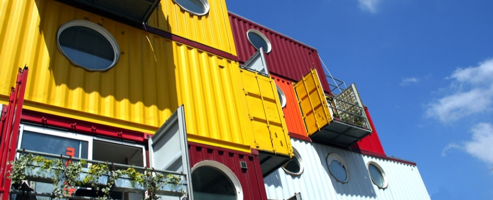 Yellow shipping container apartment at Container City II in London