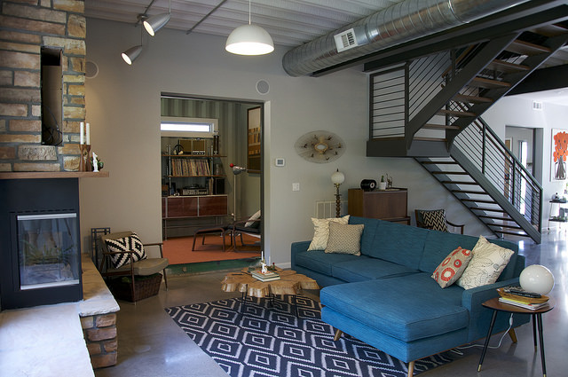 colorful modern living room in a shipping container tiny home