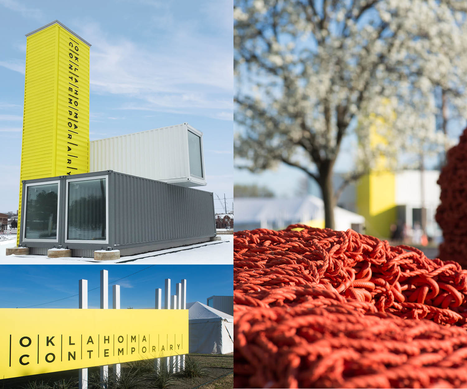 yellow grey and white shipping containers being used for a contemporary art museum