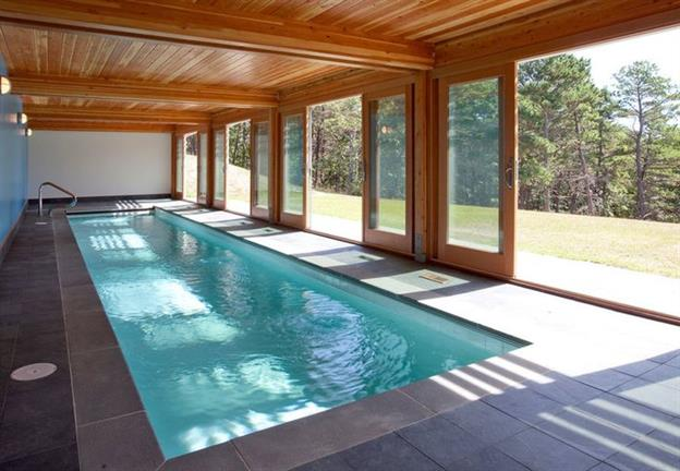 indoor in-ground swimming pool made from a shipping container