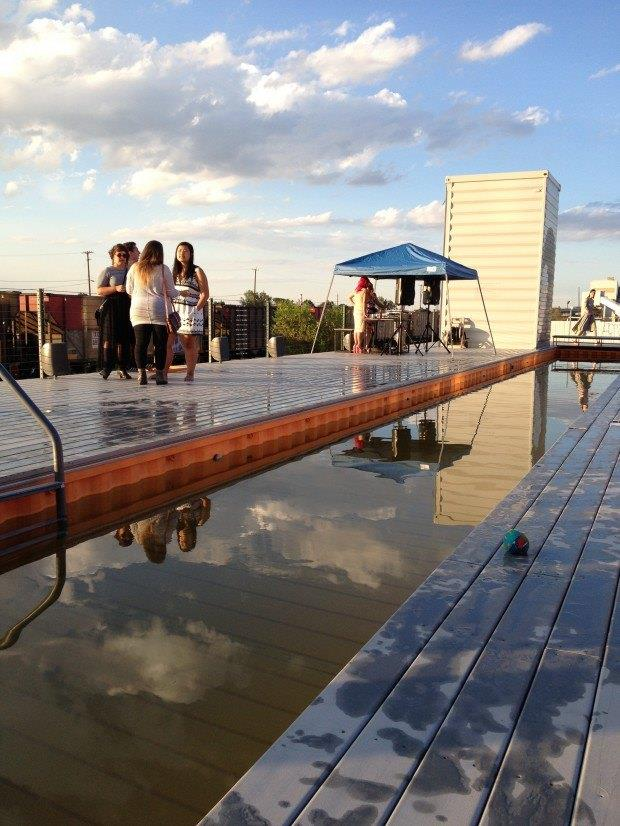 rooftop swimming mote made from a shipping container
