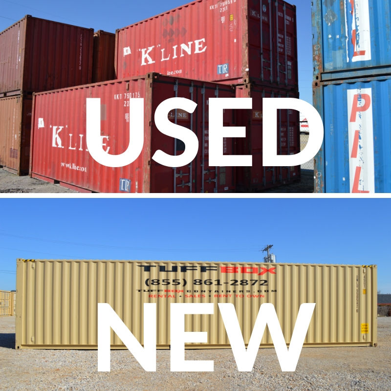 comparing photos of used 20-foot shipping containers and a one-trip shipping container