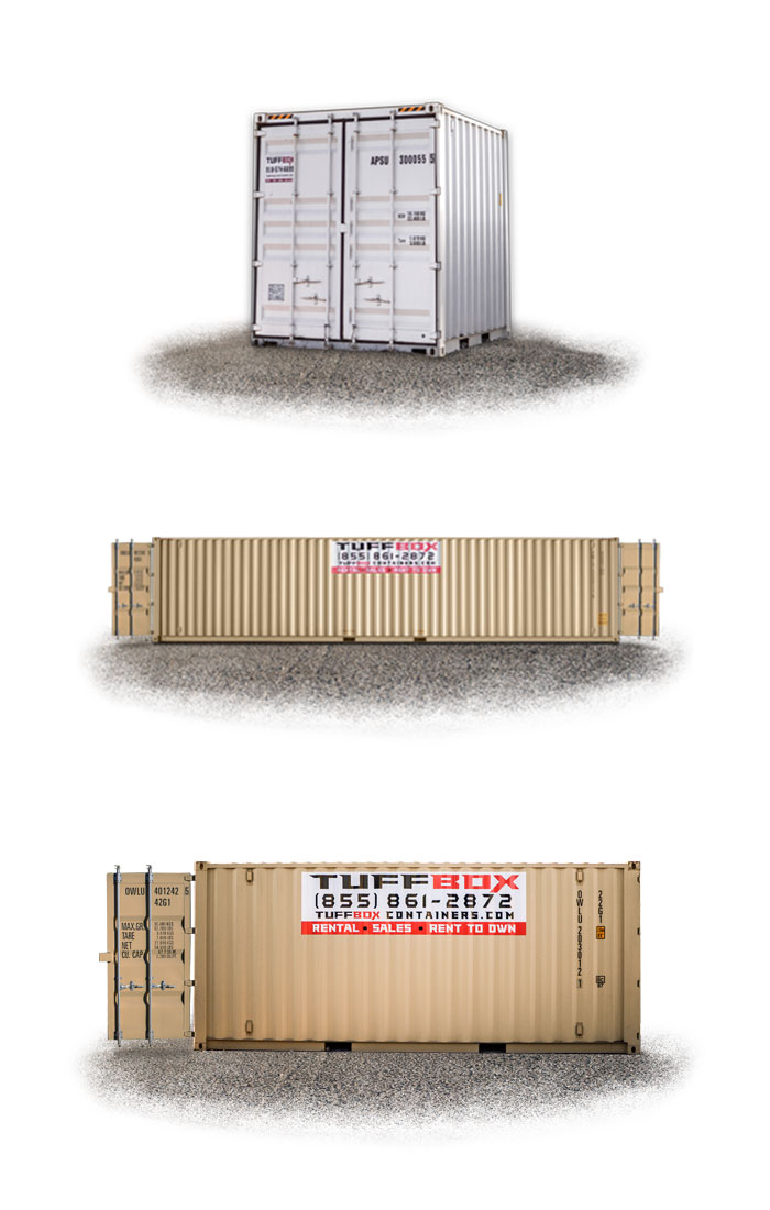 10-foot storage container, 40-foot double door container and a 20-foot shipping container