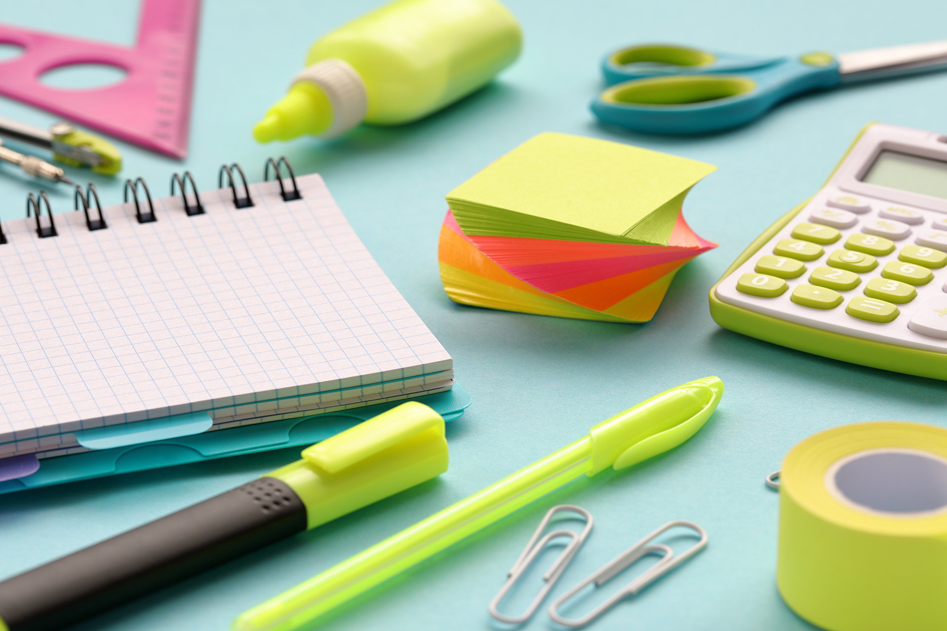 photo of office desk supplies