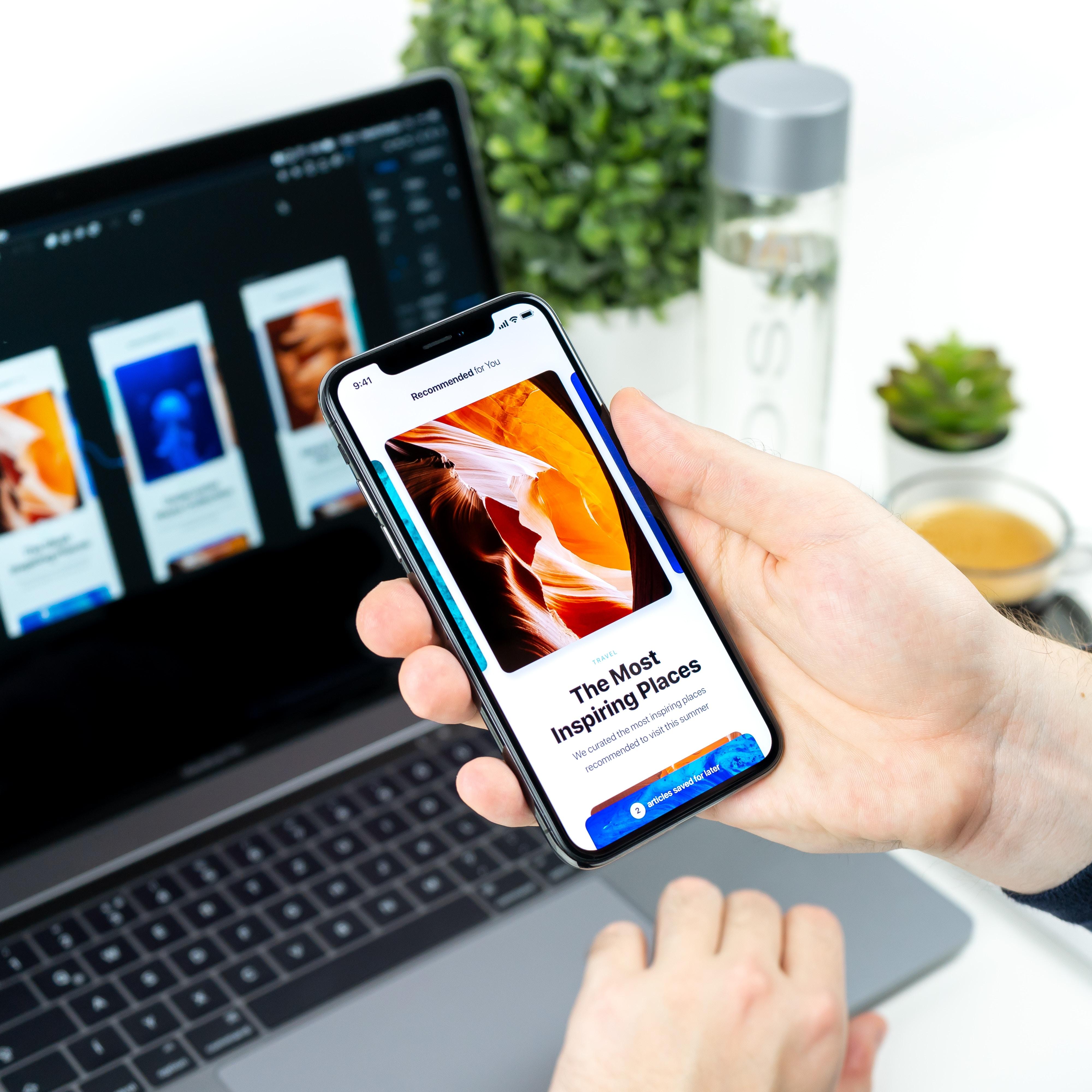 Designer creating a user friendly UI/UX design