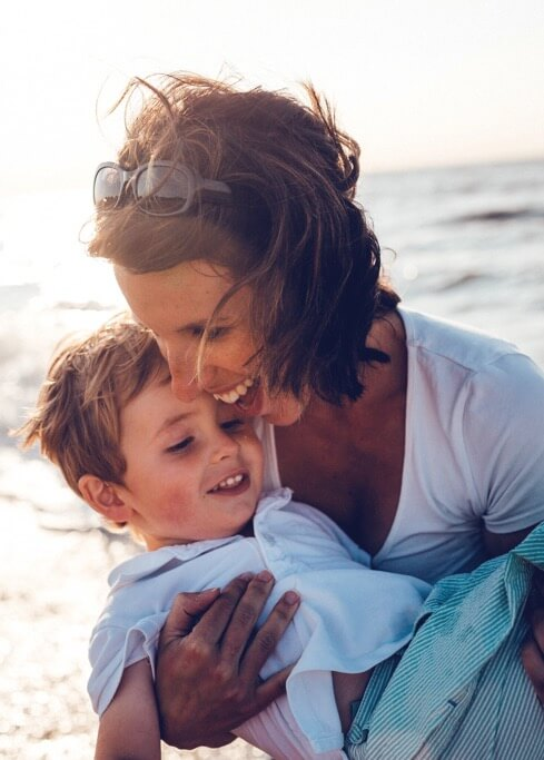 mom with son