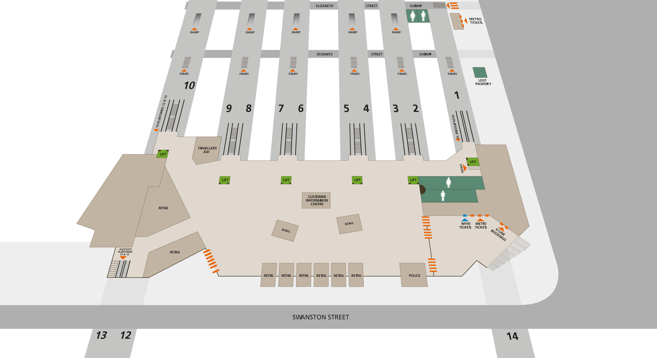 Map of Flinders Street Station