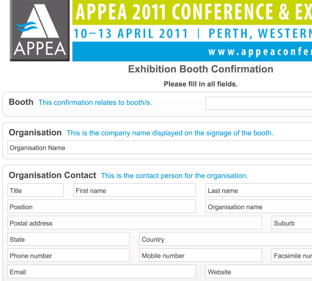 Interactive Exhibitor Booking Form