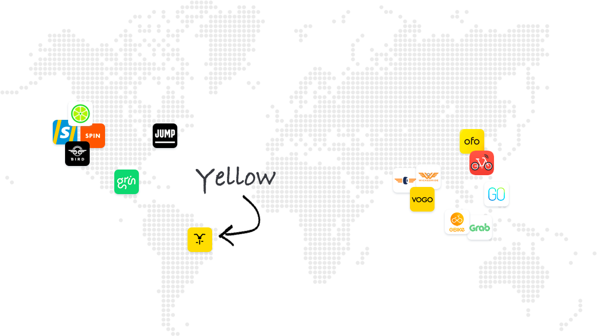 Map of e-scooter and mobility startups across the world, showing Yellow in Brazil
