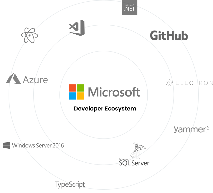 The Microsoft developer ecosystem, including Azure, GitHub, TypeScript, Electron, VS Code, Visual Studio